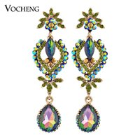Wholesale 5 Colors Crystal Water Drop Earrings for Women Elegant Shape Party Earrings Gold White Plated Earring Ve Vocheng Jewelry