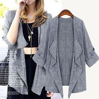 Cheap 2014 Fall new gray linen blazers woman cardigans outer wear clothing cropped loose varsity jackets