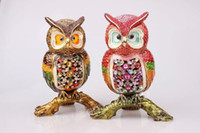 athena art - hot metal craft diamond beautiful owl home decoration Athena love birds jewelry boxes japan Favorite auspiciousness and happiness birds