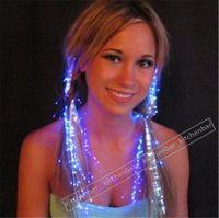fiber fiber optic - 2015 Cool LED Flash Braid Colorful Luminous Headdress Masquerade Festival Props Light Up Fiber Optic Hair Pigtail Christmas Gift Y