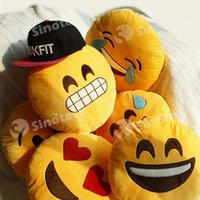 Wholesale Emoji Bolster Smile Emotion Round Cushion Pillows Stuffed Toys Plush Soft Toy CM Free DHL UPS FedEx Factory Direct