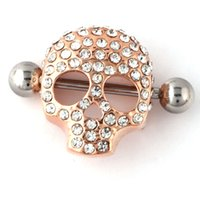 crystal diamond skull - Fashion Gold Nipple Rings Sexy Lady Jewelry Shields Nipple Body Jewelry Piercing G Surgical Steel Nipple Rings Sexy Skull Rings