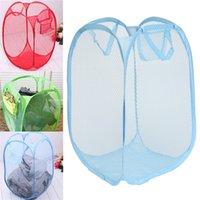 Wholesale New High end Random Color Foldable Pop Up Washing Clothes Laundry Basket Bag Bin Hamper Mesh Storage Case order lt no track