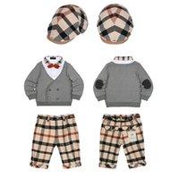 100% Cotton Short Sleeve Piece New Arrivals Boys Sets Brand Children Autumn 3 pieces suit Trousers+Coat+Hat Top Quality Kids Outfits Baby Cotton Clothing