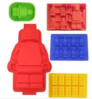Wholesale 5stylus Silicone Lego Man Style Ice Cube Tray Ice Mold Chocolate Candy Soap Candle Jello Crayons Maker set Free china post