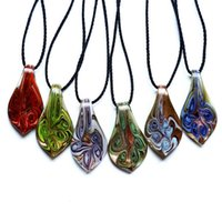 murano glass - new screwy of the abstract leaves the shape of the murano glass Lampwork pendant necklace d gold sand handmade art glass pendant