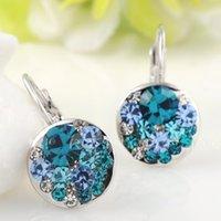 Wholesale Brand design Zircon Earrings Gift for Women Girls Crystal Ear Clips Earrings Platinum Plated Valentine s Day Jewelry E90