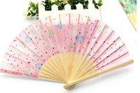 Wholesale 2016 new Art Handmade Flower Chinese Silk folding Bamboo Hand Fans wedding Fans Parasols
