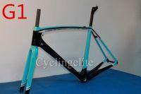 Wholesale 2015 new arrival black blue glossy finish carbon frameset bicycle fiber frame T1000 cm sky team frame by EMS