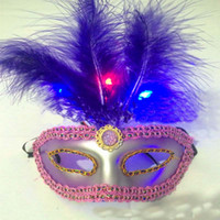 Wholesale Lady Woman LED Light Up Flash Venetian Mask Masquerade Dance Party Ball Carnival Costumes Wedding Feather Masks