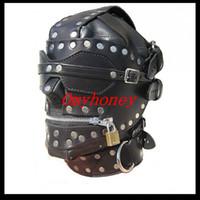Wholesale New Bondage Luxury Full Leather Bondage Hood Gimp Mask with Blindfold Locking Mouth Zip SM444