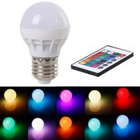 Wholesale 3W RGB LED Light Bulb Lamp E27 GU10 AC V Color Changing IR Remote Control Sales LED Globe Light Color Changing Lamp Bulb