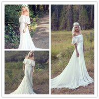 off white lace bridal wedding dress - 2015 Bohemian Styles Cheap Wedding Dresses Off Shoulder Backless Short Sleeves Modest White Lace Hippie Ruffle Trim Bridal Gowns Simple