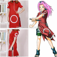 Wholesale Anime Naruto Haruno Sakura st Generation Cosplay Costume High Quality cheongsam Embroidery clothes