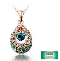 jewelry paris - Korean jewelry authentic color retention angel tears necklace crystal necklace Paris Green Crystal Jewelry