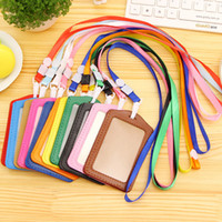 id card neck lanyard - Bank Credit Card Holders women men PU Leather Neck Strap Card Bus ID holders candy colors Identity badge with lanyard