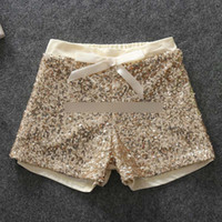 sequin elastic - Fashion children shorts girls sequins shorts bling bling hot pants Bow princess shorts gold hot pink A5430