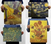 american impressionists - Van gogh monet Style impressionist masterpiece painting posters starry night cafes kraft paper adornment vintage poster