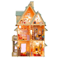assemble furniture - Doll house Assembling DIY Miniature Model Detective Room Big Size House Toy furniture Voice Control LED Light Wooden Doll House