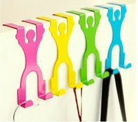 Wholesale Cartoon humanity back double door with hooks door non trace free nail sundry coat hook Home Garden
