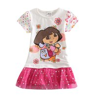 Wholesale Kids dress for girls dresses summer princess girls clothing ropa ninas girls dora lace dress for party and wedding