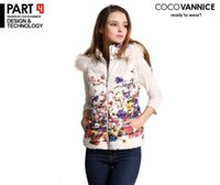 2014 women winter Vests cardigan casual womens Print Floral parka slim