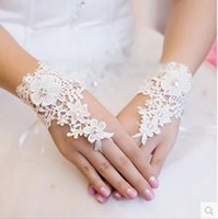 Wholesale 2016 New Arrival Cheap In Stock Lace Appliques Beads Fingerless Gloves Wrist Length With Ribbon Bridal Gloves Wedding Accessories