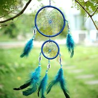 Wholesale India Style Car Handmade Blue Dream Catcher Circular With feather Wall Hanging Decoration Gift Shell