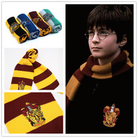 Wholesale Harry Potter Scarves School Unisex Knited Scarves Cosplay Costume Warm Stripe Scarves Christmas gift scarf LA147