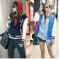 2,015 Nouveau Printemps et Automnes Nouvelle-coréen Femmes Mode uniforme de baseball Col montant Pull Veste Manteau Pour Femme Femmes Hoodies FG1511