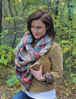 Wholesale Women fashion Plaid Scarf Warm Soft Winter Blanket Scarf Oversized Tartan Scarf women Shawl Scarf Scarves Wraps