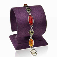 amber stones for sale - New Arrival Bracelets Bangles Faux Amber Fashion Jewelry Silver Plated Chain Pulsera For Women Hot Sale Hand wrist Stone Bangles