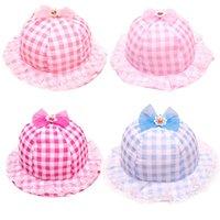 Wholesale Stylish Fashion Summer outdoor Thin Children Hat Baby Grid Lace Cap Girls Cotton Bucket Fisherman Headwear