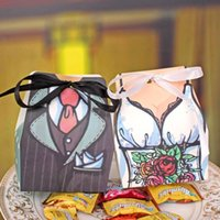 Wholesale 2015 Wedding Candy Gift Bag x4 x9 cm Western Style Dress Design Style Of The Boxes For Fovor Candy Gift Box PB