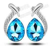 austrian crystal teardrop earrings - White Gold Plated Austrian Crystal Teardrop shaped earrings colors