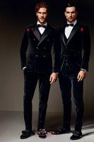beige corduroy - Winter Black Velvet Formal Men Suits Two Styles Groom Groomsmen Tuxedos Peak Lapel Wedding Morning Suits Jacket Pants Vest Bow Tie