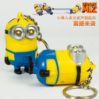 antique flashlight - New Arrival Minion LED Light Keychain Key Chain Ring Kevin Bob Flashlight Torch Sound Toy Despicable Me Kids Christmas Promotion Gift