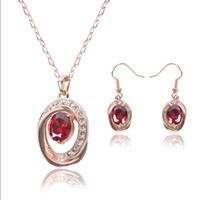 amber jewellery sets - Jewelry Set Piece Girls European American Necklace Earrings Fashion Diamond Ruby Party Bride Jewellery For Women