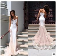 backless bra with straps - New Listing long evening dress luxury high grade custom princess trailing fishtail banquet French lace sexy Bra Gown Wedding Dress