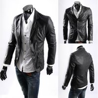 big menswear - Fall Menswear lapel single breasted big yards motorcycle leather male solid color faux leather casual leather jacket L XL