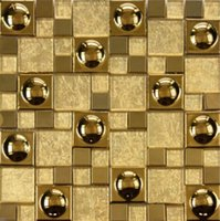 ceramic wall tile - High end wall stickers metallic gold foil Tiles Mosaic European gold foil Mosaic gold hat Glass bathroom TV setting wall ceramic tile
