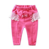 Wholesale 2016 Little Q baby girls clothes kids cotton pants winter infant clothing lace princess children underwear long spring trousers