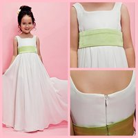 Wholesale New Design A line Square Floor length Chiffon Flower Girl Dress Childrenwear
