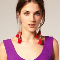 asos red - European and American trade of the original single jewelry ASOS HM official website of the same paragraph big red tassel earrings earrings l