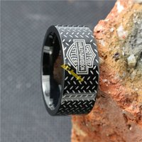 Wholesale Fast Shipping Silver Biker Black Bandl Ring L Stainless Steel Fashion Jewelry Popular Awesome Cool Biker Ring