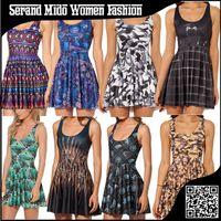 Cheap Harajuku women summer dress 2015 O-neck sleeveless punk style women print dresses women's clothing Vestidos femininos SMBT067