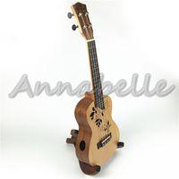 Wholesale Unique quot Ukulele Concert Hawaii Small Guitar Spruce Sapelli Wood Uke four Strings Musical Instruments