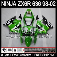 Wholesale 8Gifts Body For KAWASAKI NINJA ZX6R Green black ZX636 ZX MY36 ZX R ZX R Green Fairing