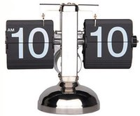 auto office desk - Modern Art Metal Scale Desk Table Mantel Auto Page Turning Flip Clock For Home Office Shop