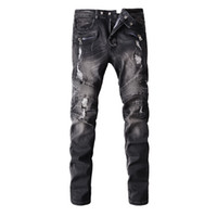 american motorcycle brands - Hot Mens balmain Jeans Brand Distressed Ripped Biker Jeans Men Hiphop joggers pants Cotton Slim Fit Motorcycle Jeans for men Plus size